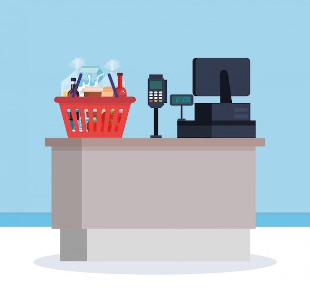 Punto de venta de supermercado con cesta de la compra vector gratuito