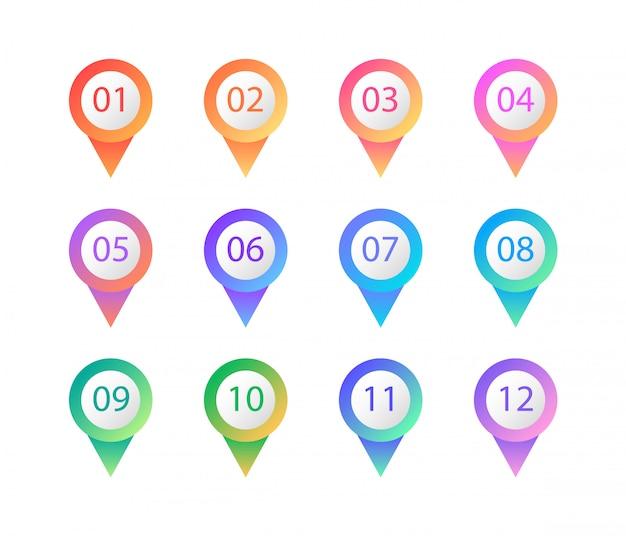 Puntos de balas de colores. botones web y marcadores. elementos Vector Premium