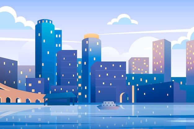 Puntos de referencia de la ciudad - fondo para videoconferencia vector gratuito