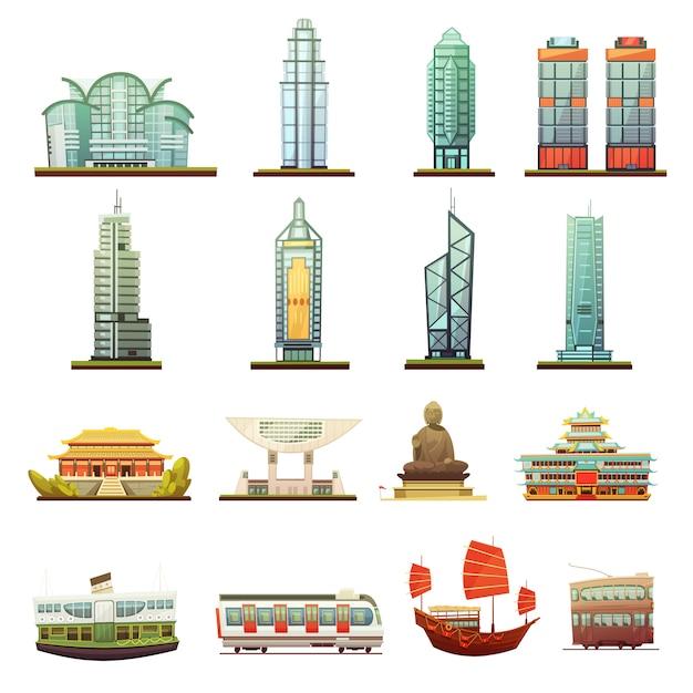 Puntos de referencia de la ciudad de hong kong vector gratuito
