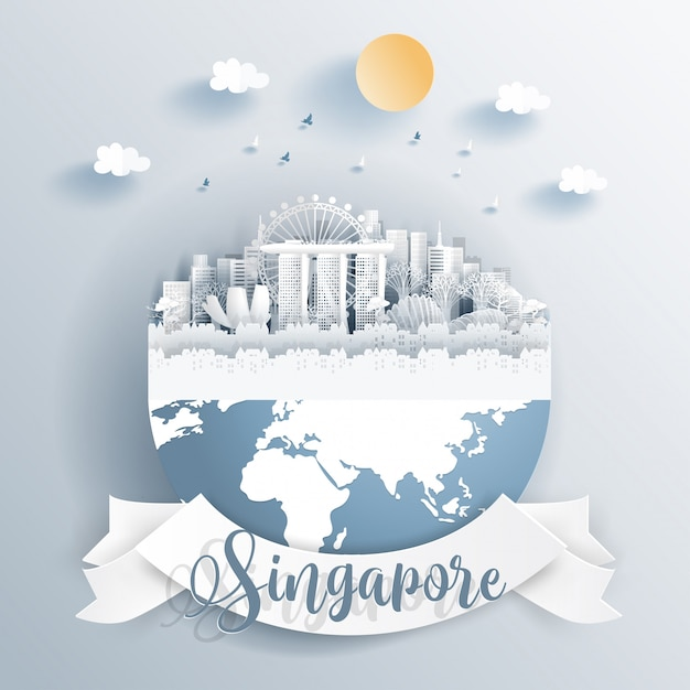 Puntos de referencia de singapur en la tierra Vector Premium