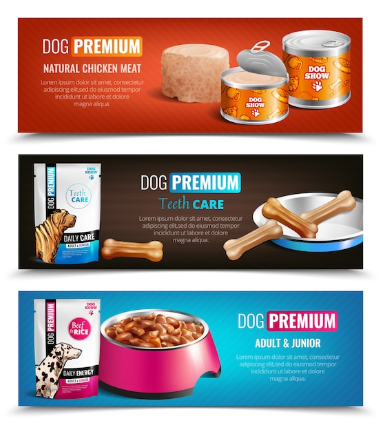 Puppy chow banners horizontales vector gratuito