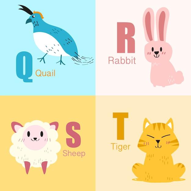 Q a t colección de ilustración de alfabeto de animales. Vector Premium
