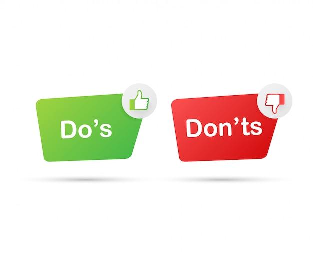 Qué hacer y qué no hacer como pulgares arriba o abajo. plano simple pulgar arriba símbolo mínimo redondo logotipo conjunto de elementos de diseño gráfico aislado en blanco. Vector Premium