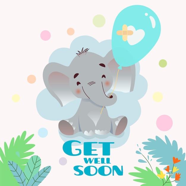 Que te mejores pronto con elefante Vector Premium