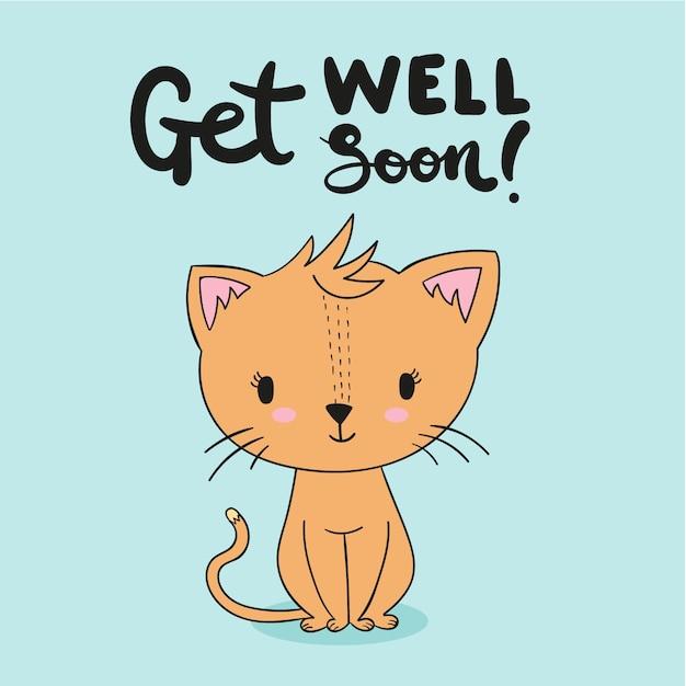 Que te mejores pronto con gatito Vector Premium