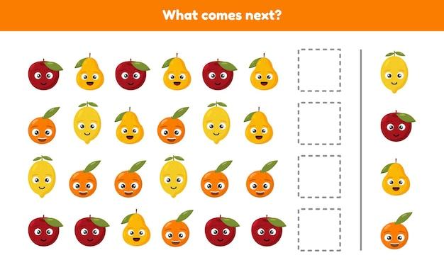 Que viene despues. continúe la secuencia. frutas hoja de trabajo para niños en edad preescolar, preescolar y escolar. Vector Premium