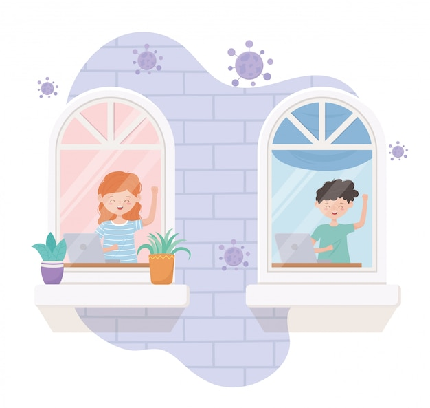 Quedarse en casa en cuarentena, personas con laptop trabajando en la ventana de la habitación Vector Premium