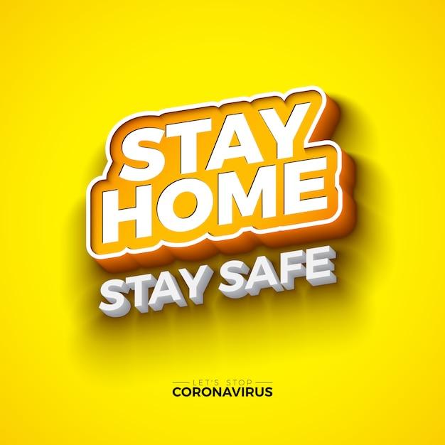 Quedarse en casa. pare el diseño del covirus-19 coronavirus con la letra de tipografía ed sobre fondo amarillo. ilustración de brote de virus corona 2019-ncov. mantente seguro, lávate las manos y distancia. vector gratuito