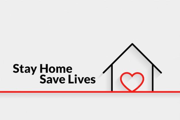 Quedarse en casa salvar vidas diseño minimalista del cartel vector gratuito