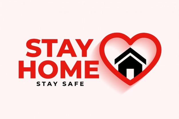 Quédese en casa de fondo con el símbolo del corazón y la casa vector gratuito