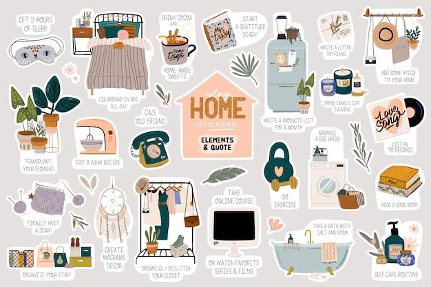 Quédese en casa con ilustraciones y letras con mensajes de coronavirus. proteger de la epidemia de covid-19. Vector Premium