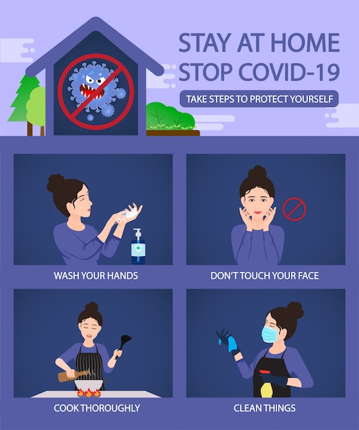 Quédese en casa pare la infografía del concepto covid-19 con la medida segura y limpia Vector Premium