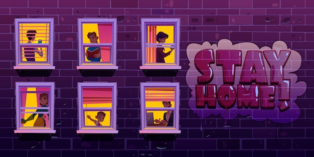 Quédese en casa, personas en ventanas durante el coronavirus vector gratuito