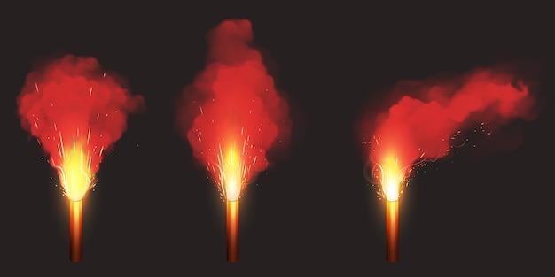 Quemar bengala roja, luz de señal de emergencia vector gratuito