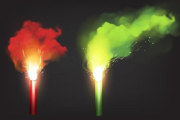 Quemar bengalas rojas y verdes, luz de señal de emergencia vector gratuito