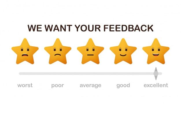 Queremos sus comentarios. revise las estrellas con iconos de caras felices e infelices. Vector Premium