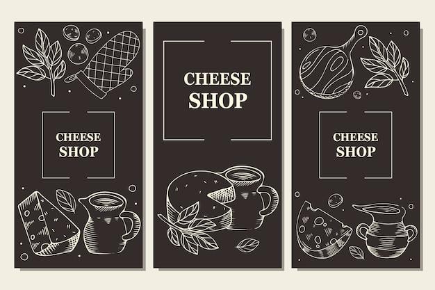 Queso y productos lácteos. plantilla de menú, folleto para tienda y cafetería. grabado sobre un fondo oscuro. Vector Premium