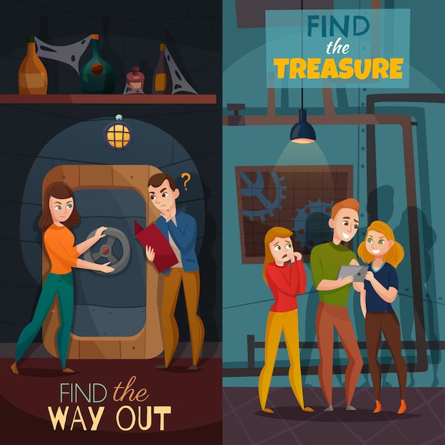 Quest game reality cartoon banners vector gratuito