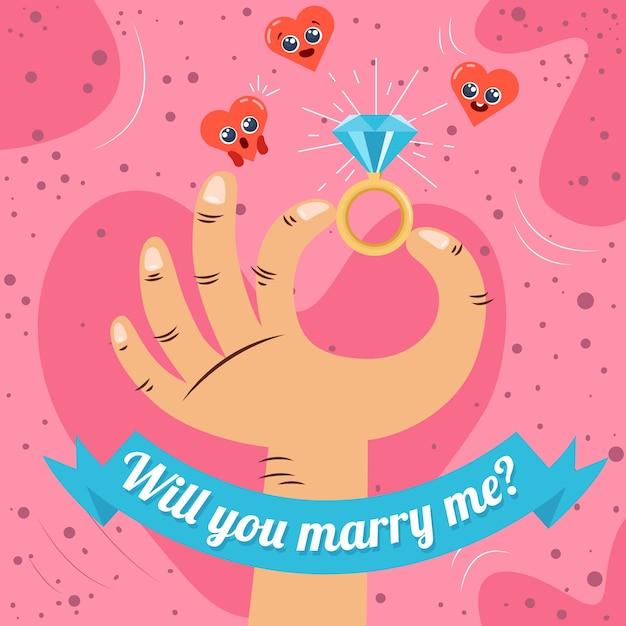 ¿quieres casarte conmigo? vector gratuito