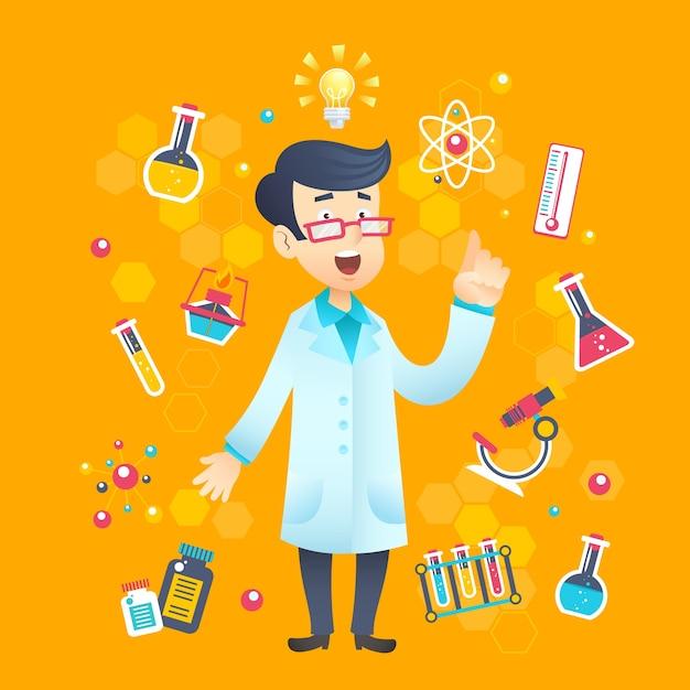 Químico científico personaje vector gratuito