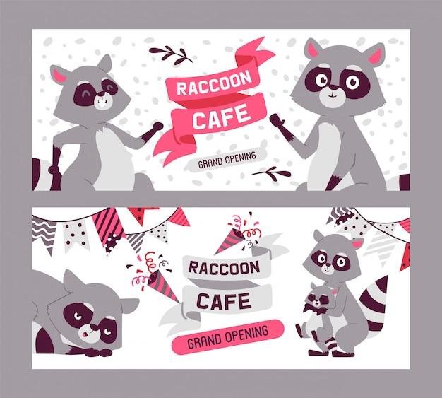 Raccoon Cafe Gran Inauguración Conjunto De Banners Familia