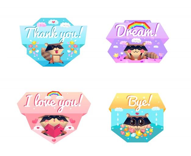 Raccoon message 4 cartoon icons composition vector gratuito