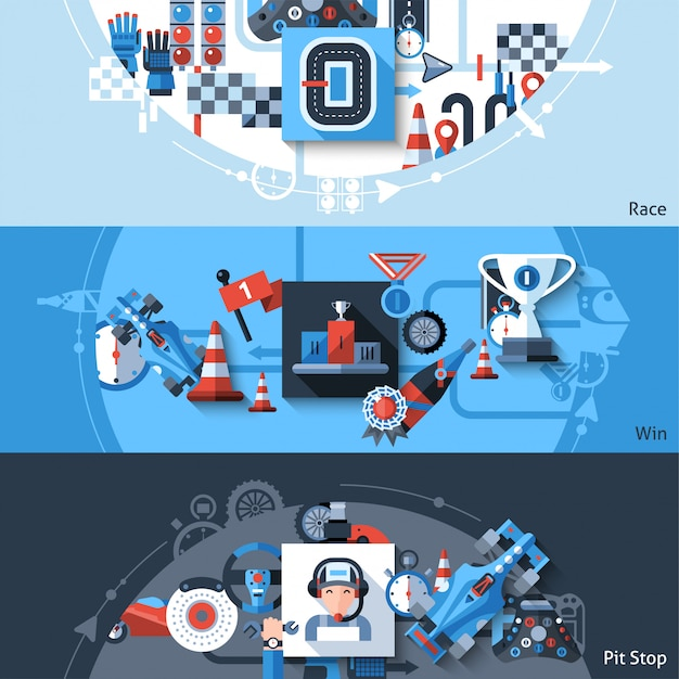 Racing banner set vector gratuito