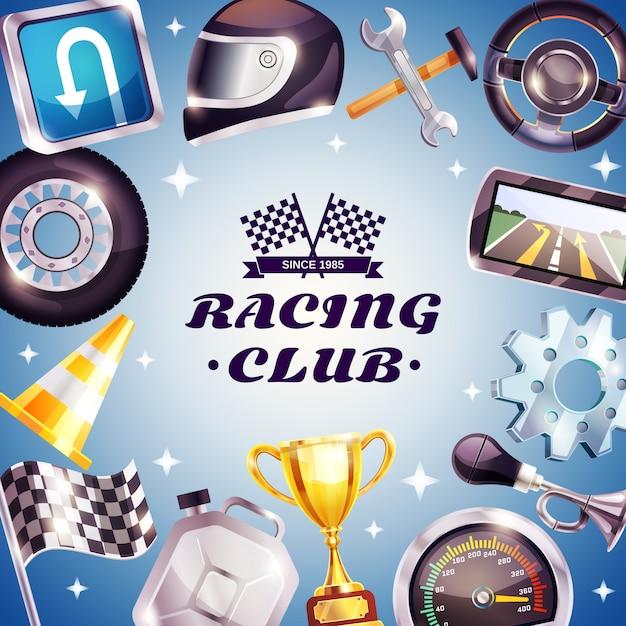 Racing club frame vector gratuito