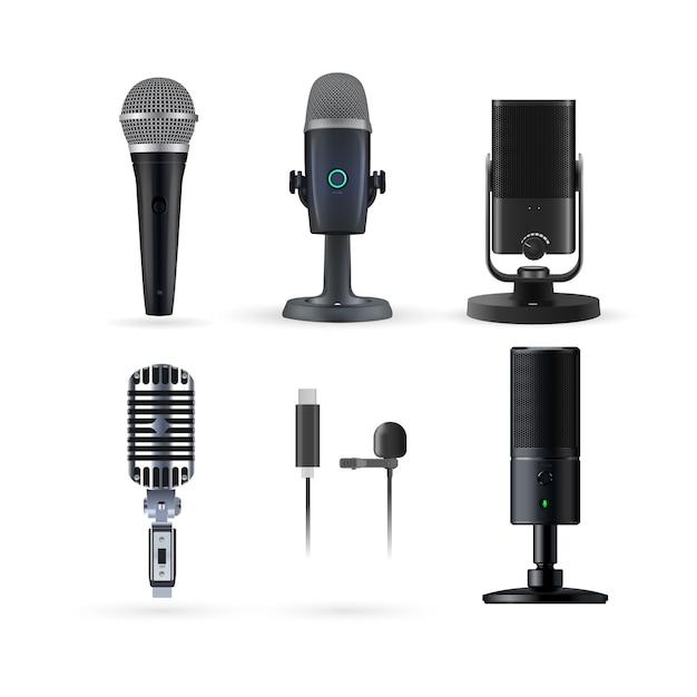 Radio realista y conjunto de micrófonos de música Vector Premium