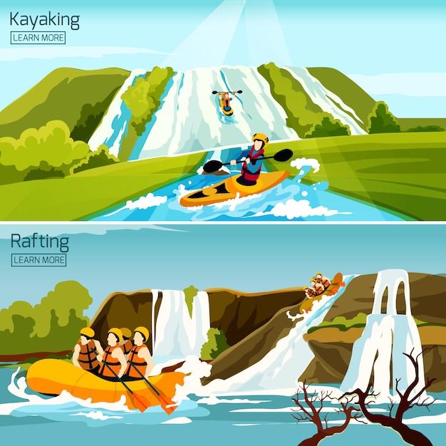 Rafting canotaje kayak composiciones vector gratuito
