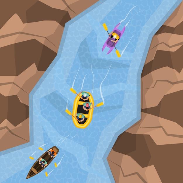 Rafting en la vista superior del río vector gratuito