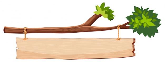 Rama de árbol con cartel de madera vector gratuito