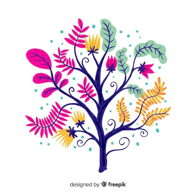 Rama floral decorativa de diseño plano vector gratuito