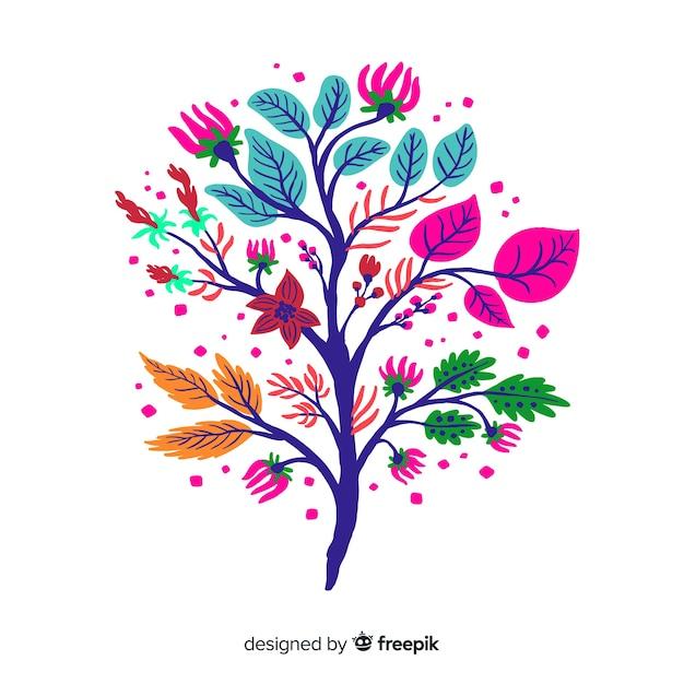 Rama floral elegante diseño plano vector gratuito