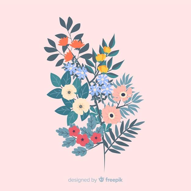 Rama con flores coloridas en diseño plano vector gratuito