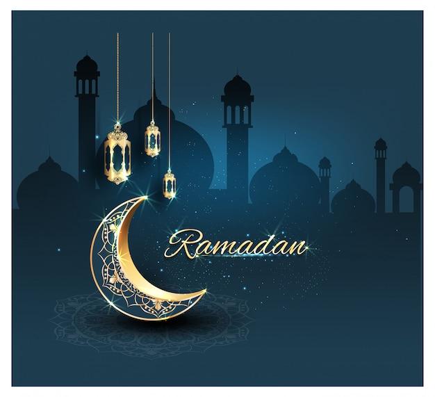 Ramadan kareem con adornos dorados. Vector Premium