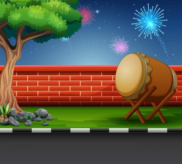 Ramadán kareem celebración con fuegos artificiales en el cielo Vector Premium