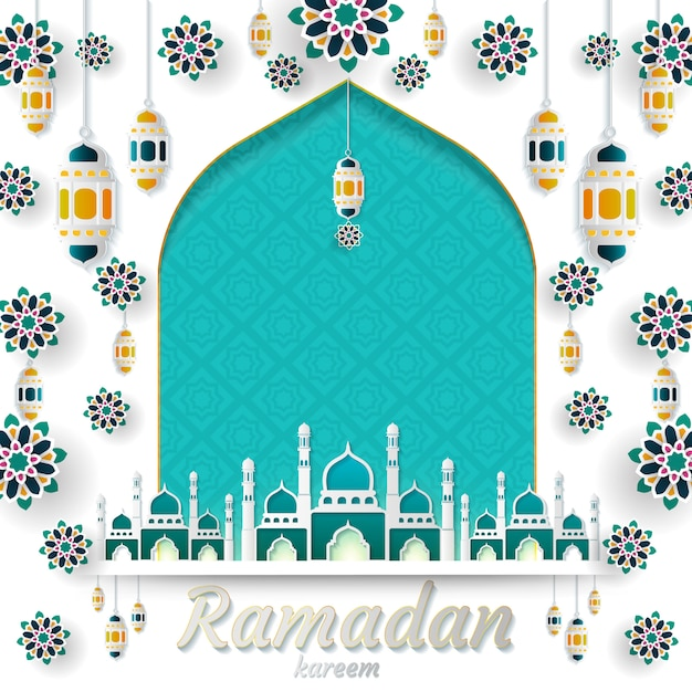Ramadán kareem de diseño de invitaciones. Vector Premium