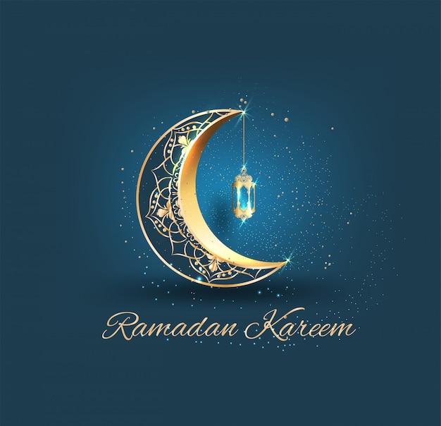 Ramadán kareem con media luna dorada adornada y mezquita de línea islámica Vector Premium