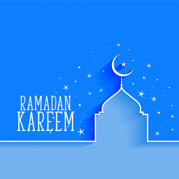Ramadán kareem mezquita y fondo estrella vector gratuito