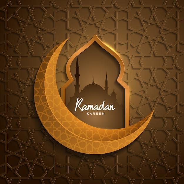 Ramadan kareem con mezquita luna dorada islamica Vector Premium