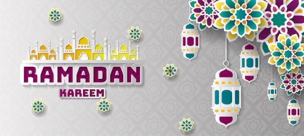 Ramadán kareem saludo de fondo. Vector Premium