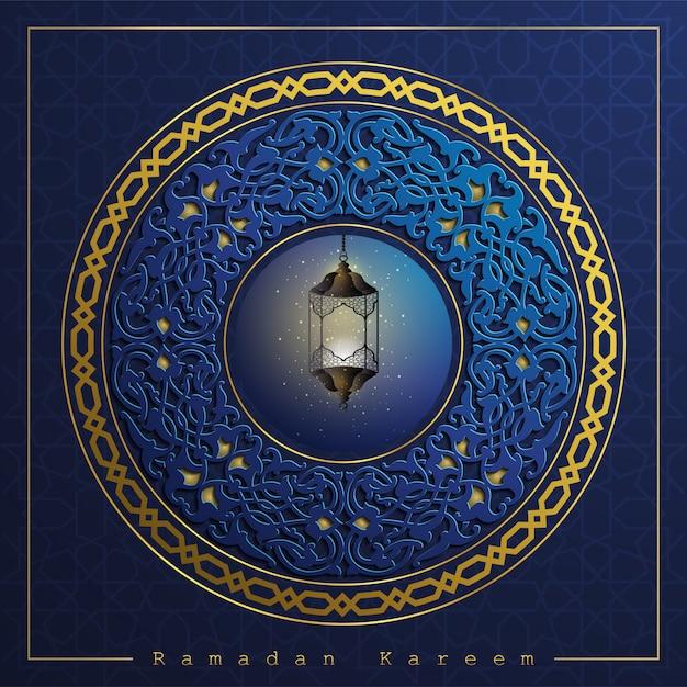 Ramadán kareem saludo islámico fondo floral Vector Premium
