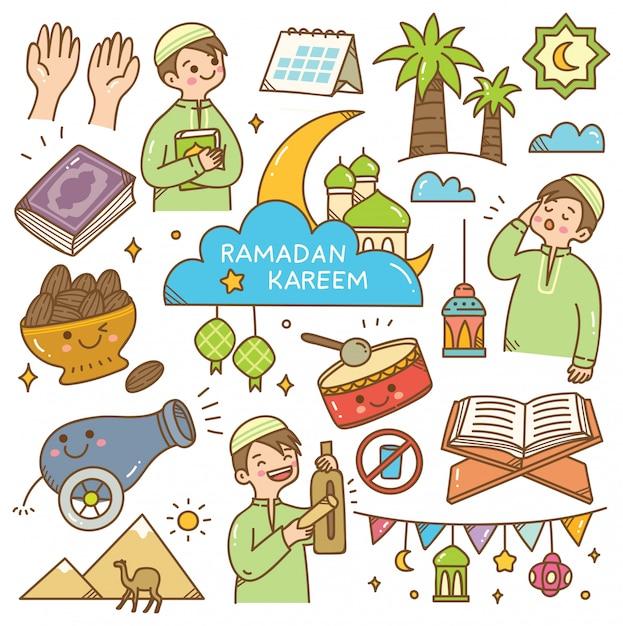 Ramadan kawaii doodle Vector Premium