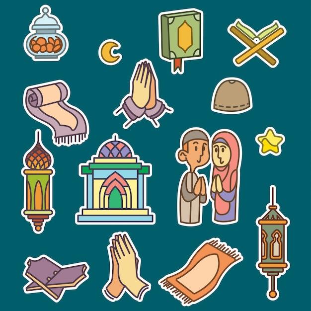 Ramadan lleno icono de contorno estilo libre Vector Premium