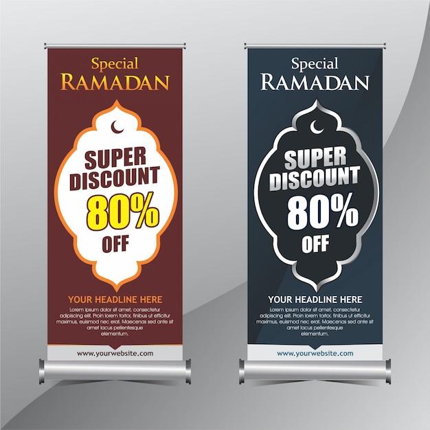 Ramadán de pie banner de promoción Vector Premium