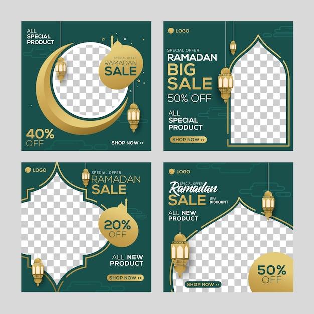 Ramadán venta de medios sociales publicar plantilla banners anuncio Vector Premium