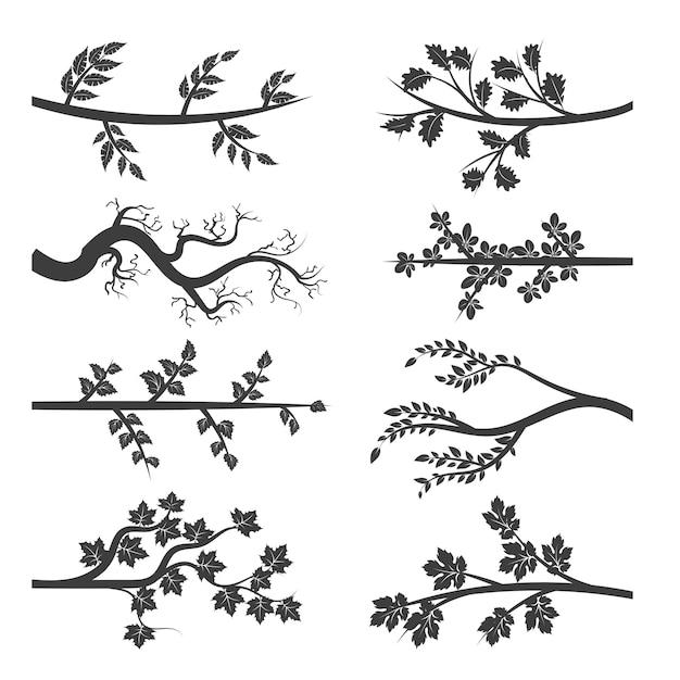Ramas de los árboles con hojas silueta Vector Premium