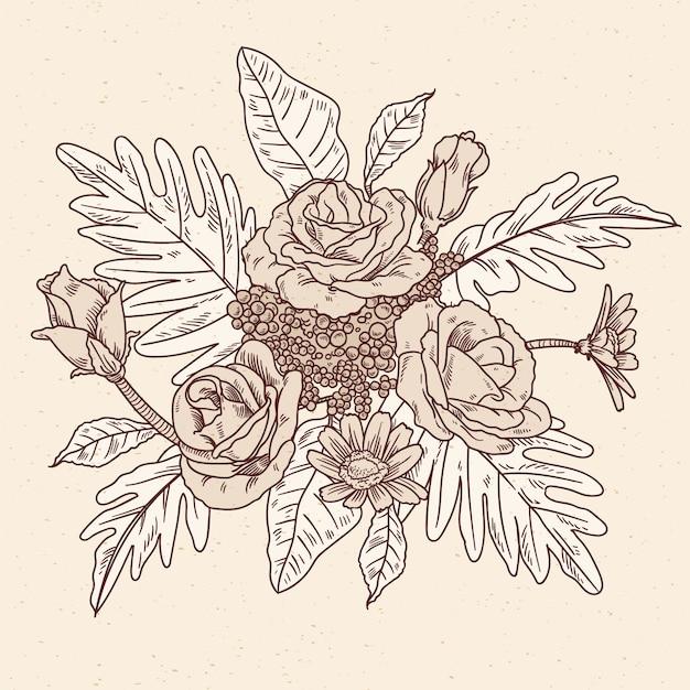 Ramo floral vintage dibujado a mano realista vector gratuito